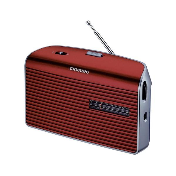 Grundig music 60 rojo radio am/fm de sobremesa portátil con altavoz