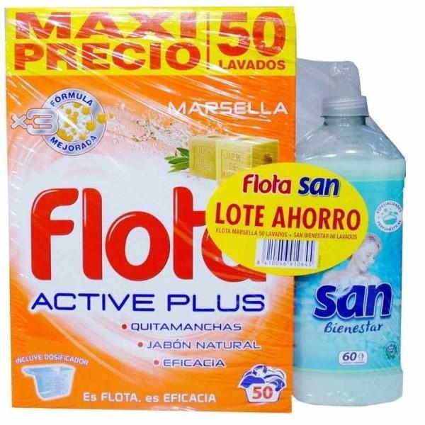 FLOTA Detergente MARSELLA  50 dosis +  SAN SUAVIZANTE BIENESTAR 60 dosis