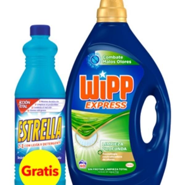 Wipp Express detergente Combate Malos Olores 40 lavados + Estrella lejía y detergente 1,5L pack